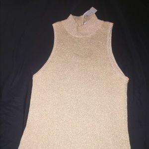 Cache Tops - Cache size L gold glitter tank top New